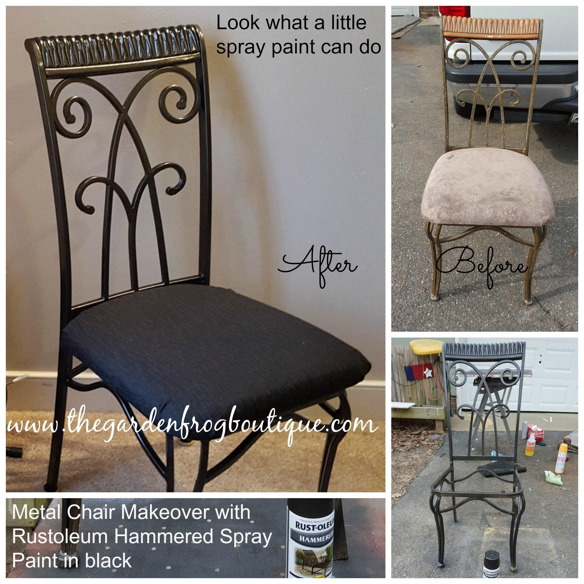 Metal Chair Makeover Rustoleum Hammered Spray Paint
