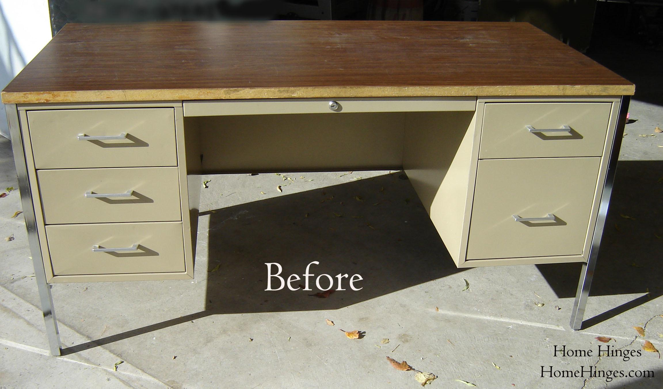 Metal Desk Makeover Before After Reveal