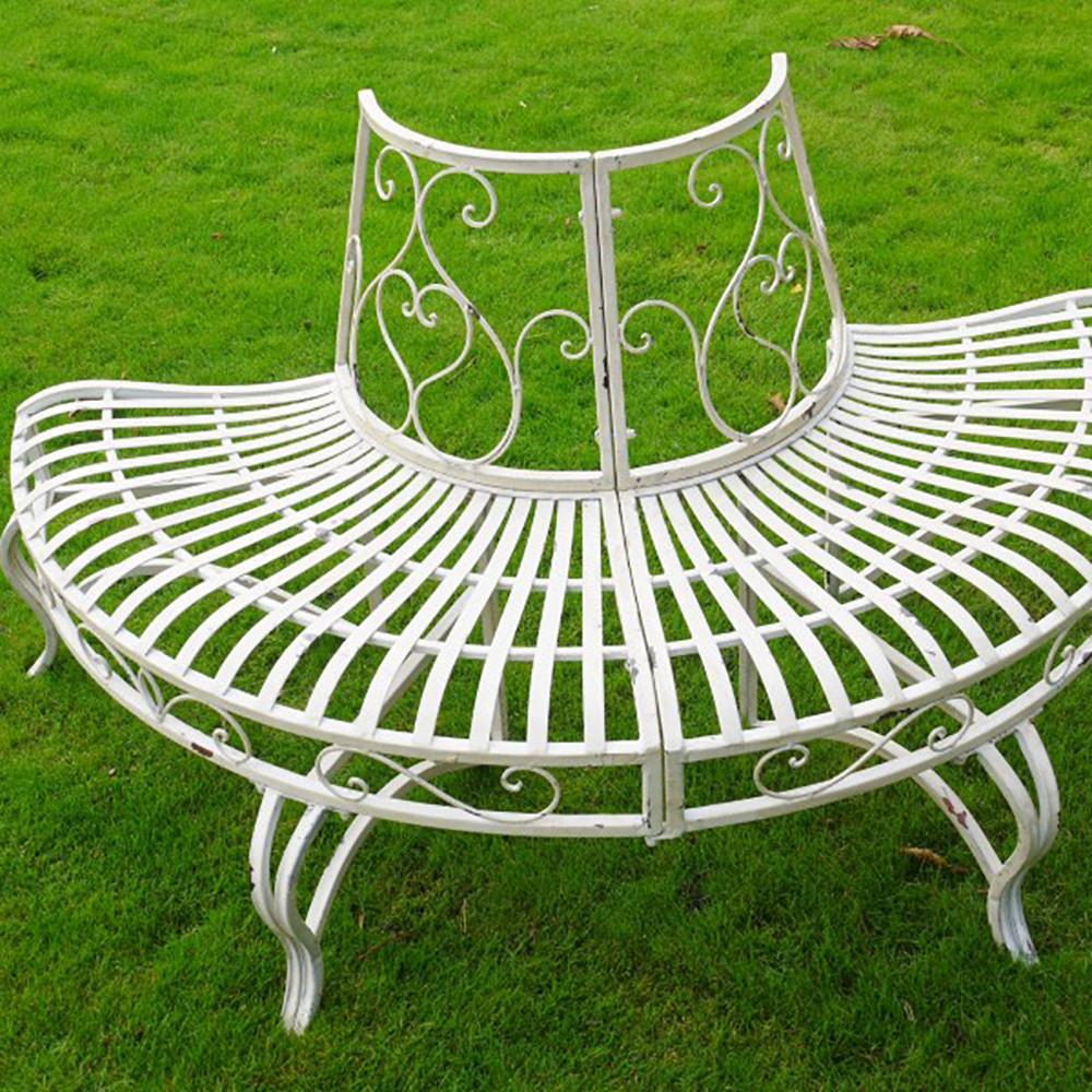 Metal Garden Tree Bench Round Seat Outdoor Furniture Patio Steel Bench 160cm