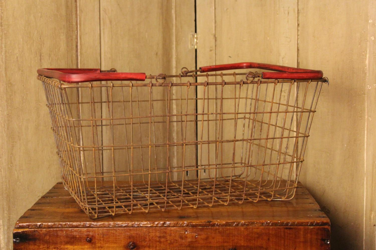 Metal Market Basket Home Living Decor Vintage