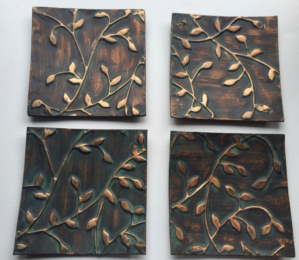 Metal Plate Tray Candle Holder Set Fall Decor