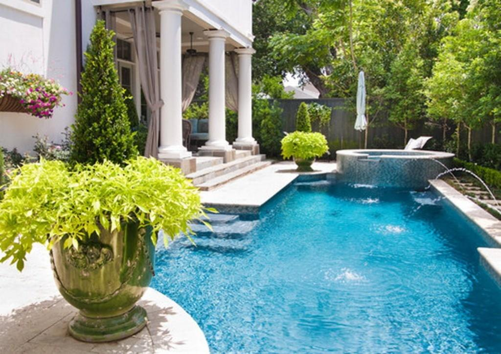 Metal Potted Plants Luxury Swimming Pool Design