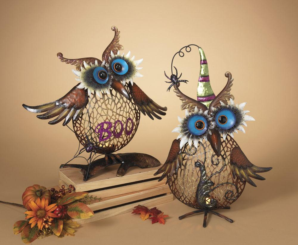 Metal Standing Owl Candle Holder Halloween Boo Spider