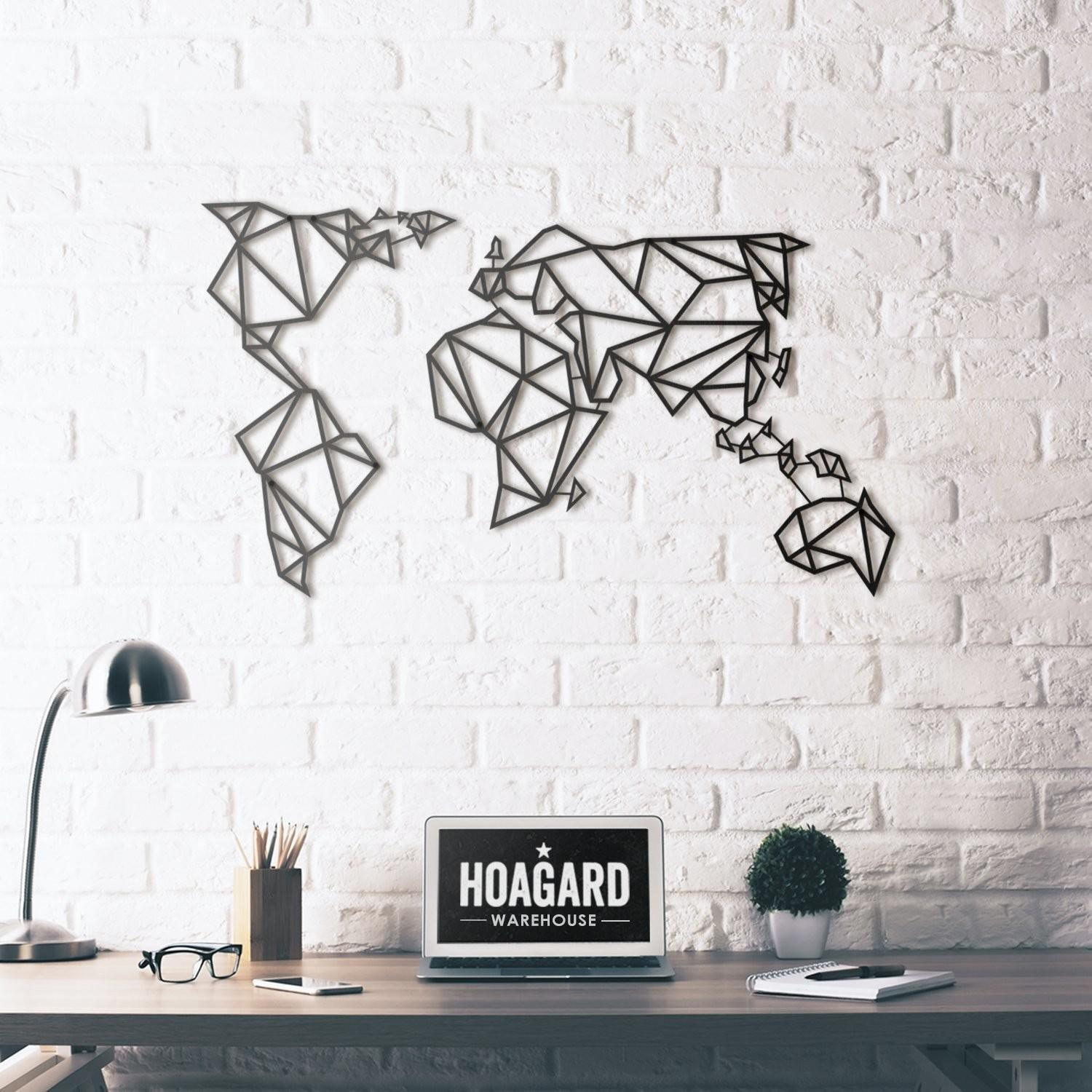 Metal Wall Art World Map Hoagard
