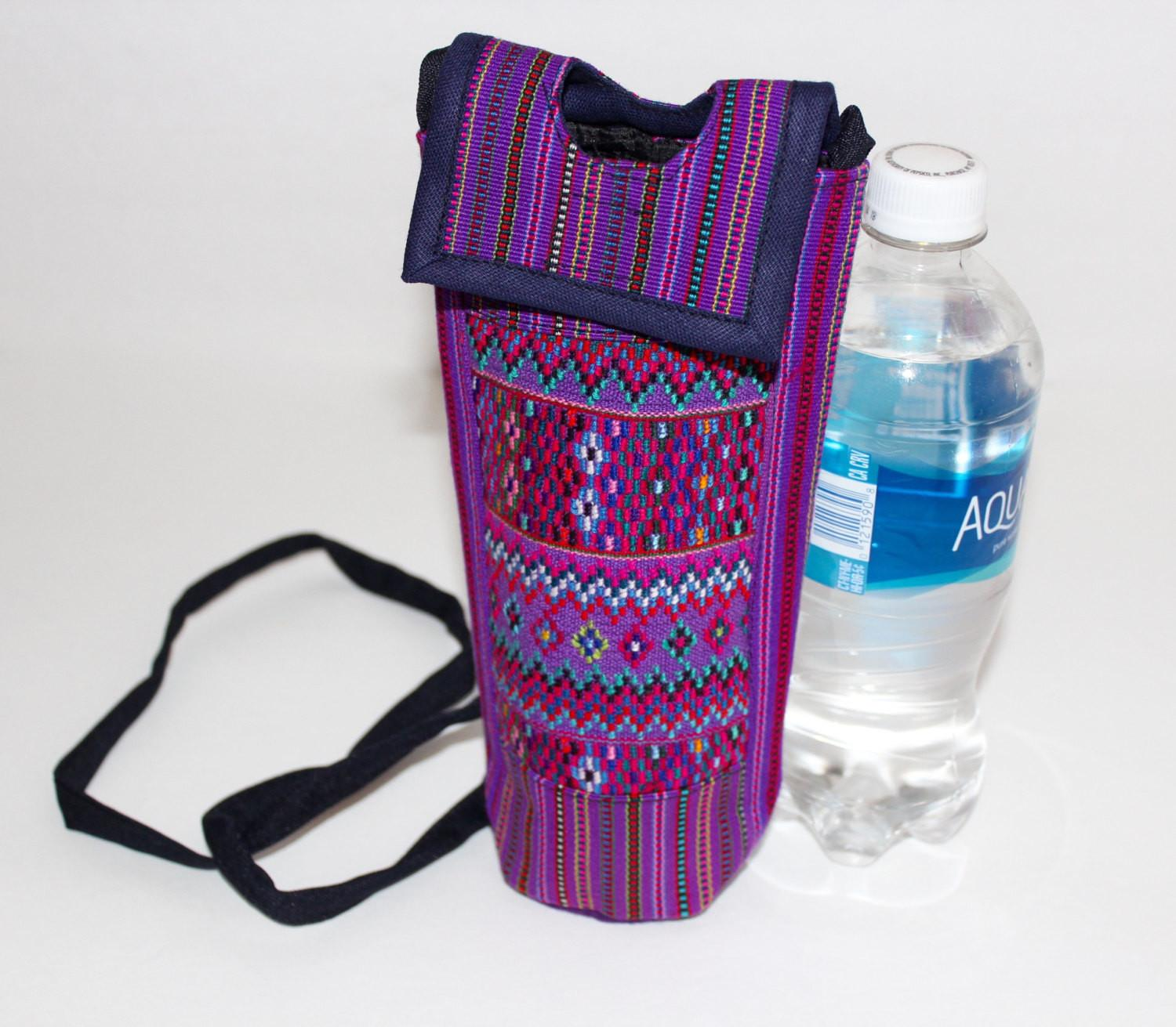 Mexican Embroidered Water Bottle Holder Bag Summer Gym
