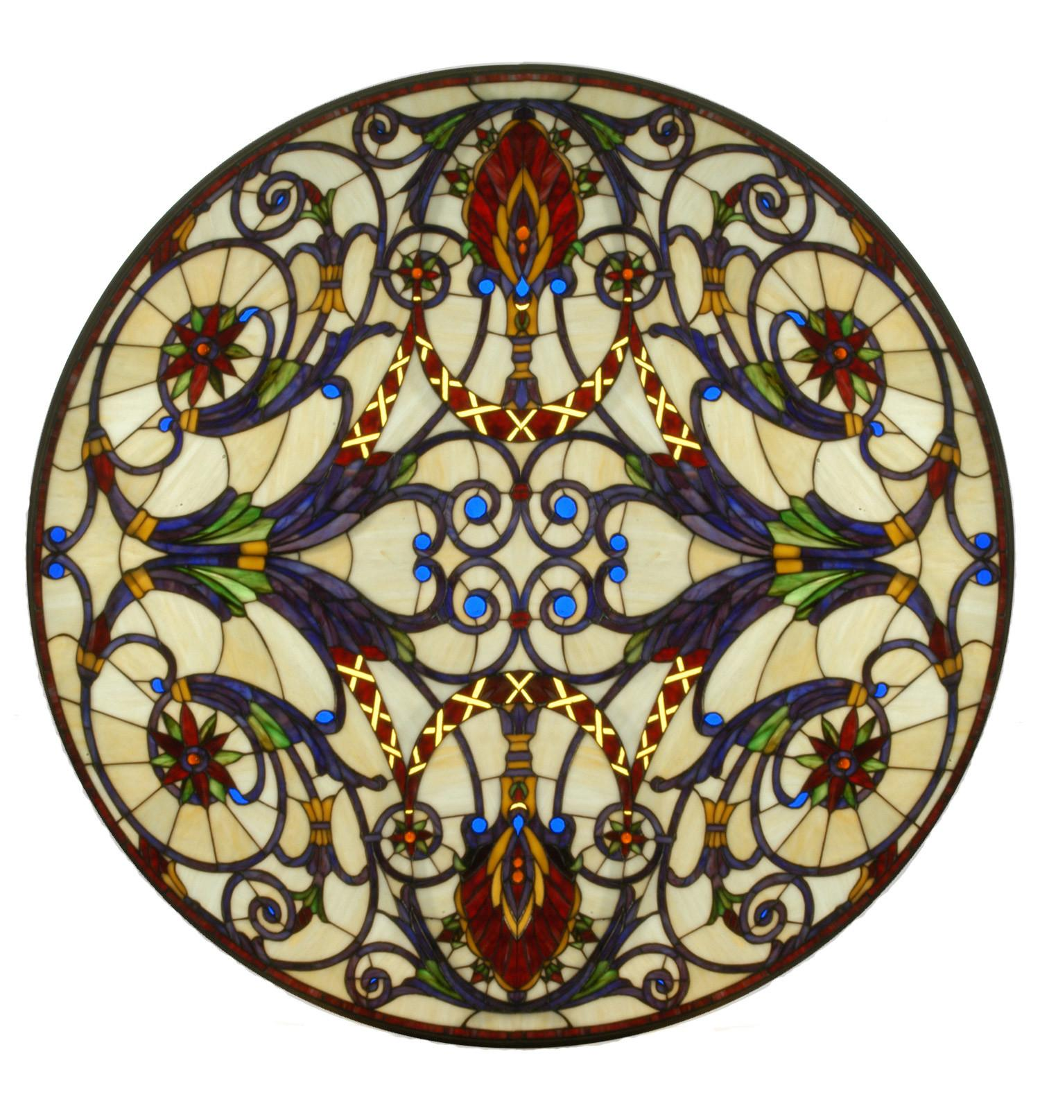 Meyda Tiffany Spiral Medallion Stained Glass Window