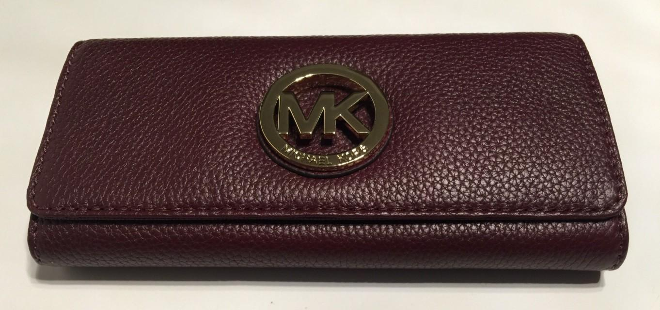Michael Kors Fulton Flap Merlot Leather Clutch Wallet