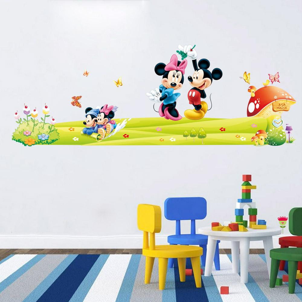Mickey Minnie Mouse Wall Stickers Boys Girls Kids Room