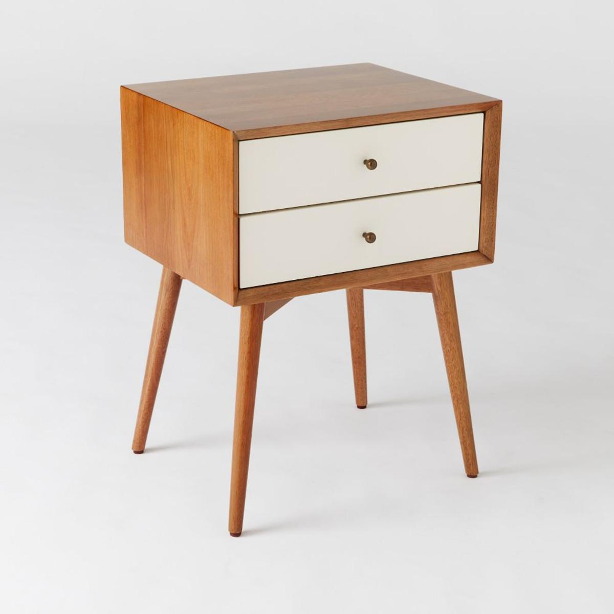 Mid Century Bedside Table White Acorn West Elm