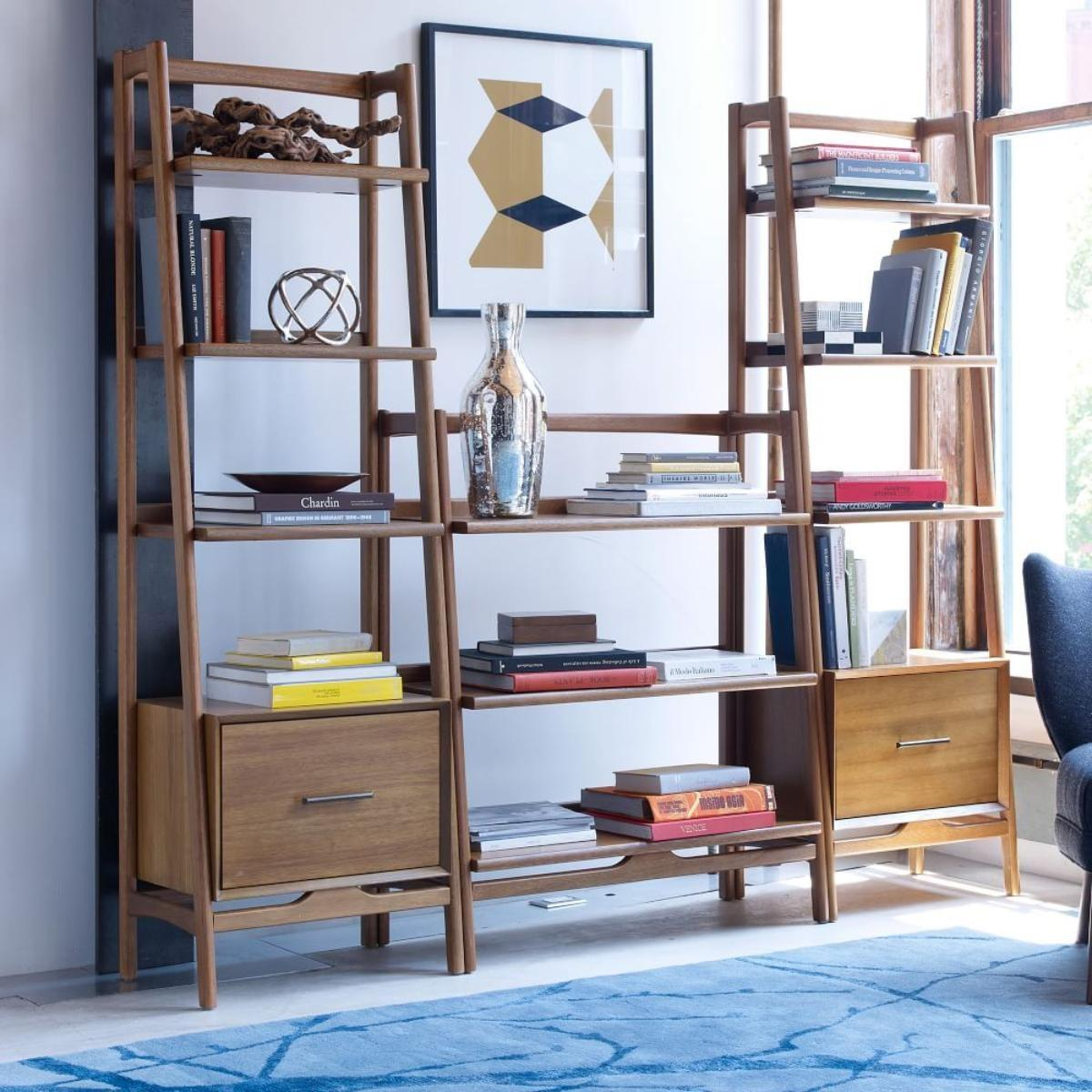 Mid Century Bookshelf Low Wide West Elm