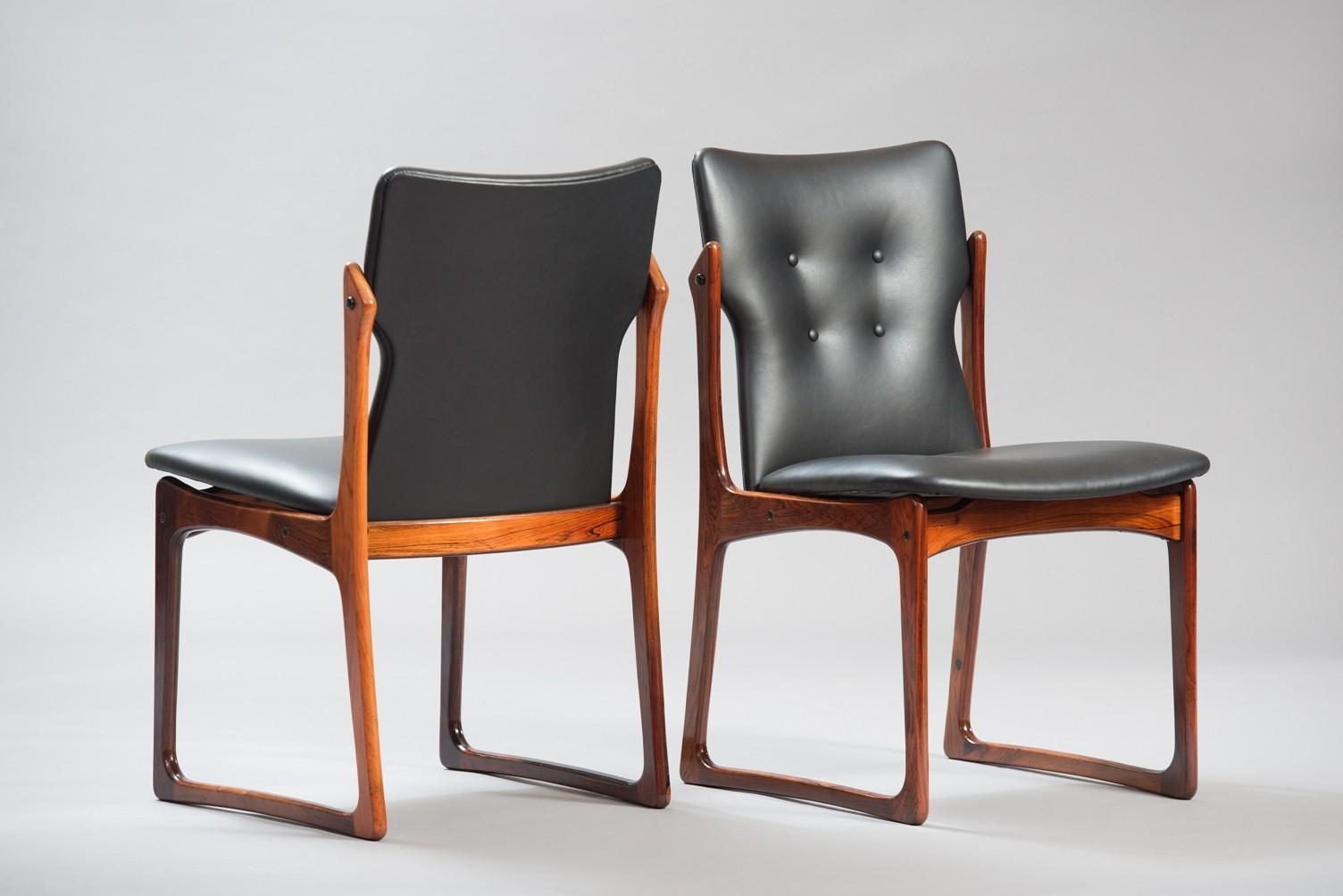 Mid Century Danish Leather Rosewood Dining Chairs Set