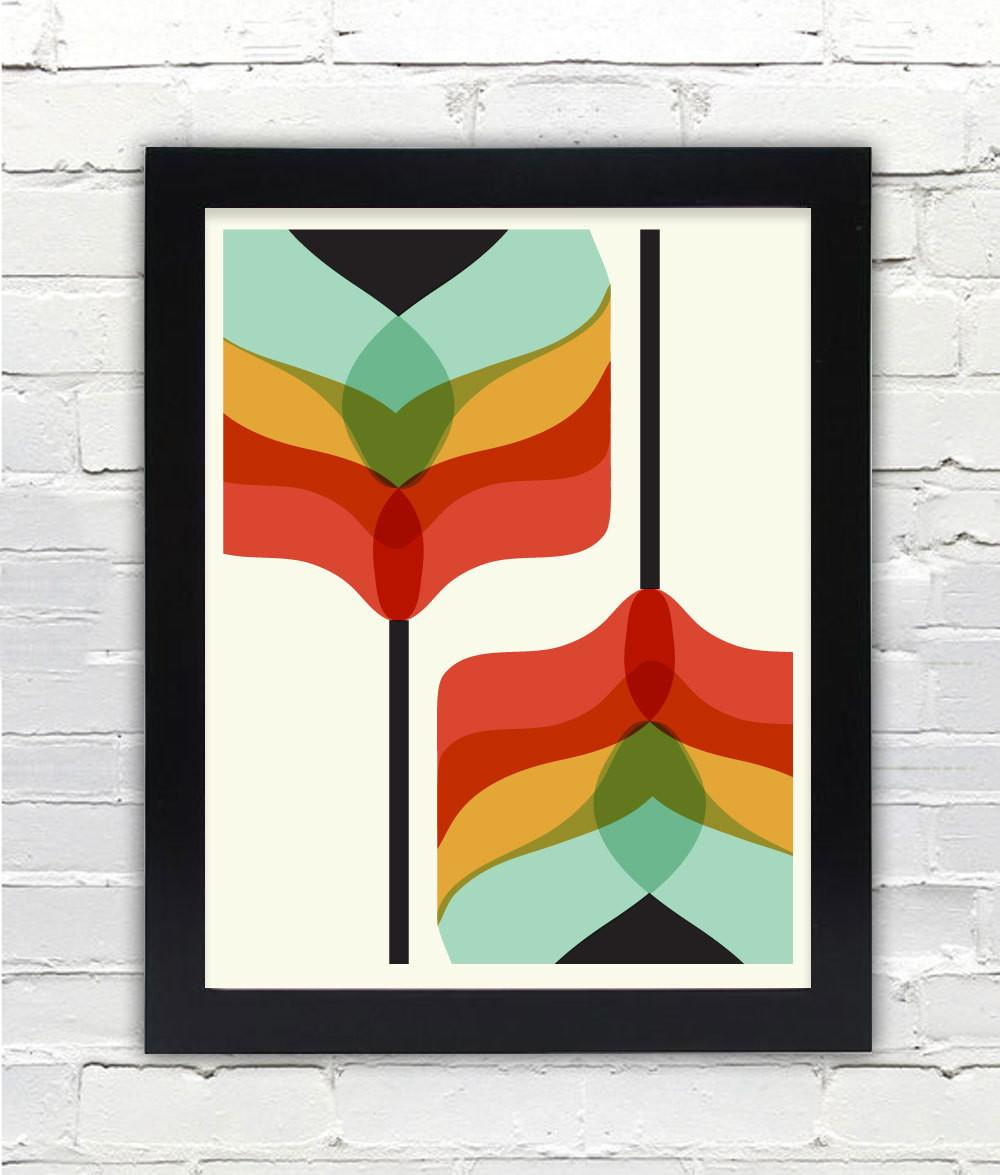 Mid Century Modern Art Falling Flowers Print Gifts Under