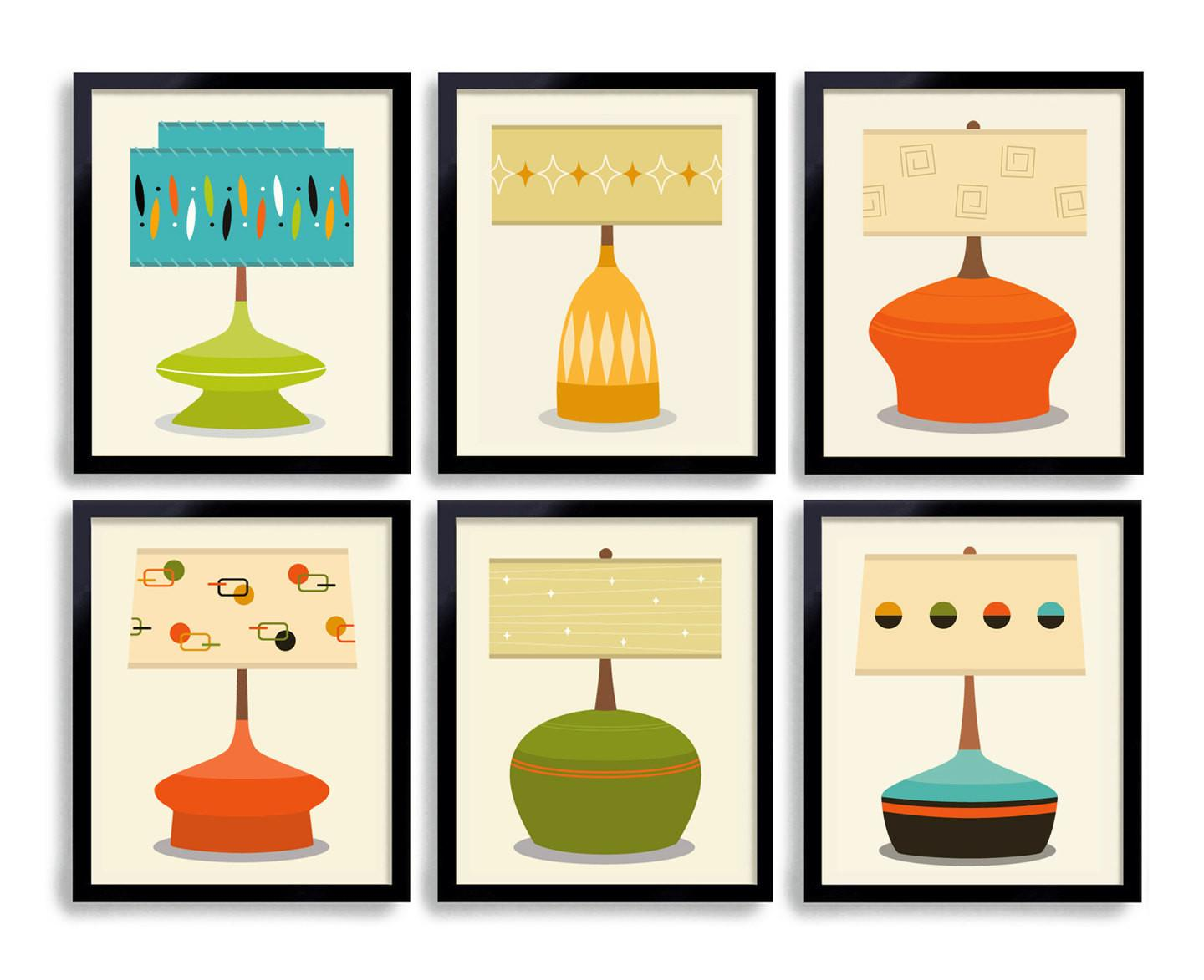 Mid Century Modern Art Print Wall Grouping Lamp Shade