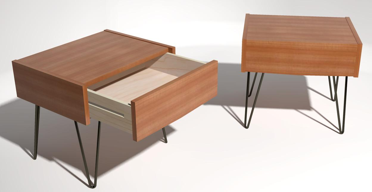 Mid Century Modern Bedside Tables Sketchup
