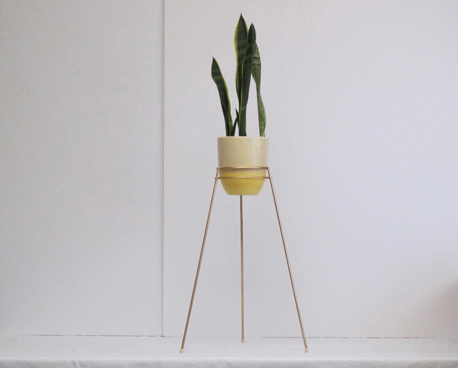Mid Century Modern Bullet Planter Stand Double Ring Saturn