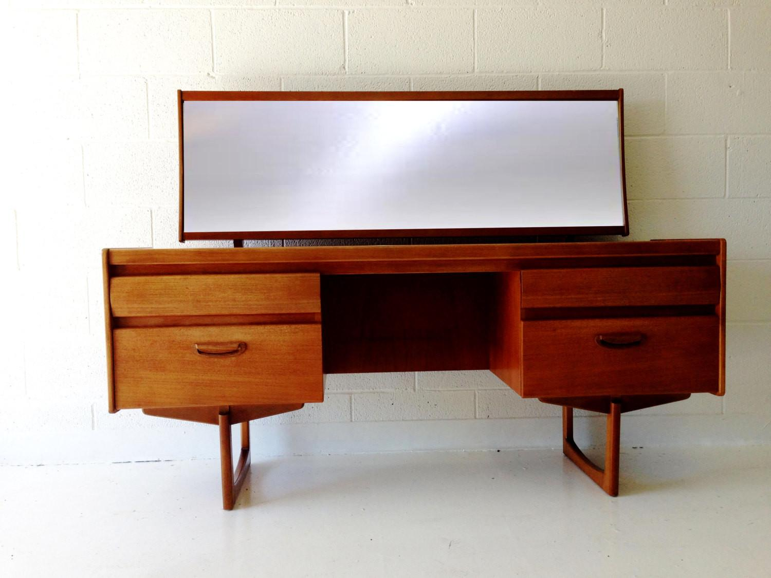 Mid Century Modern Desk Vanity Table Teak Four Drawers