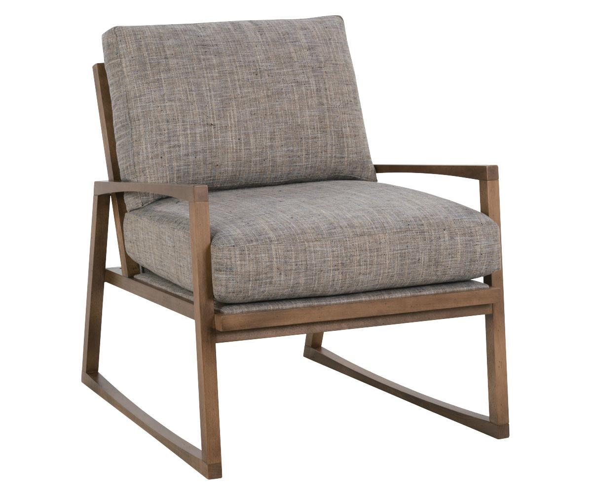 Mid Century Modern Fabric Chair Carved Wood Frame