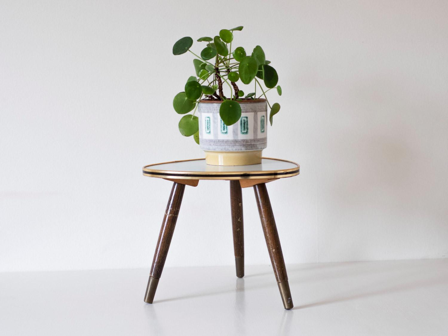 Mid Century Modern Plant Stand Small Atomic Triangular Table