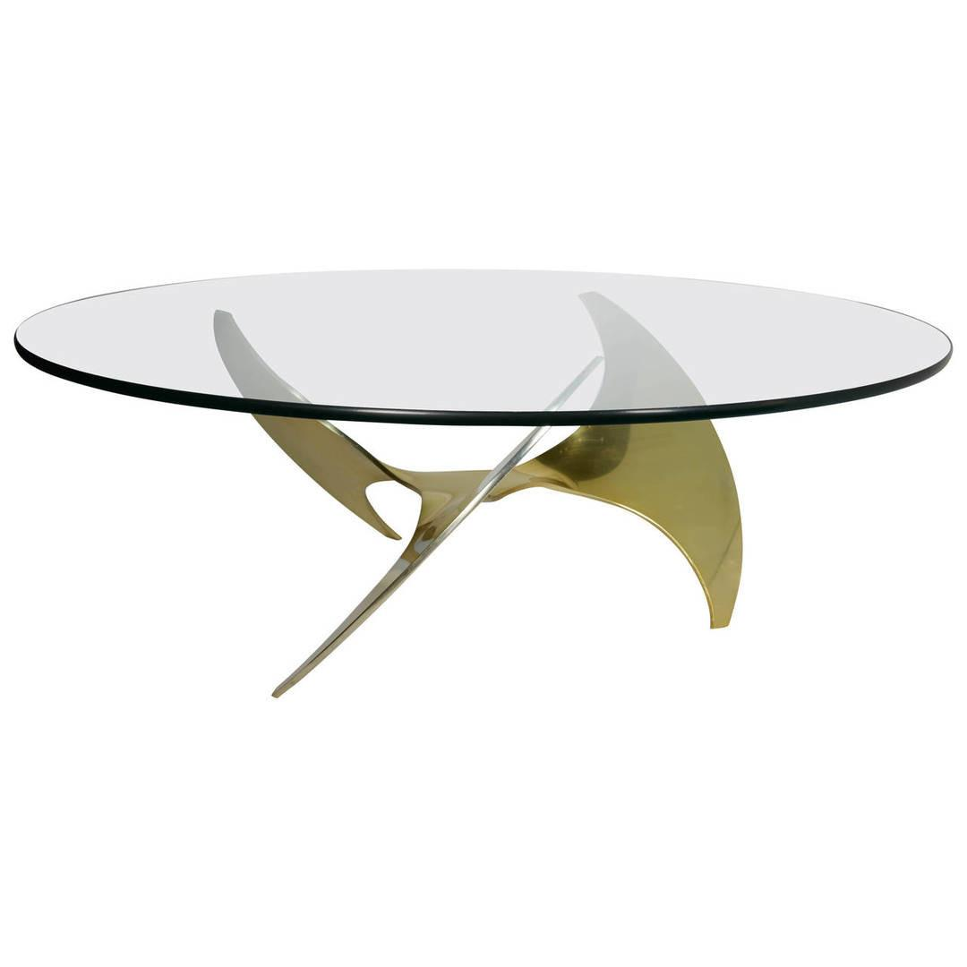 Mid Century Modern Round Coffee Table Sculptural Base