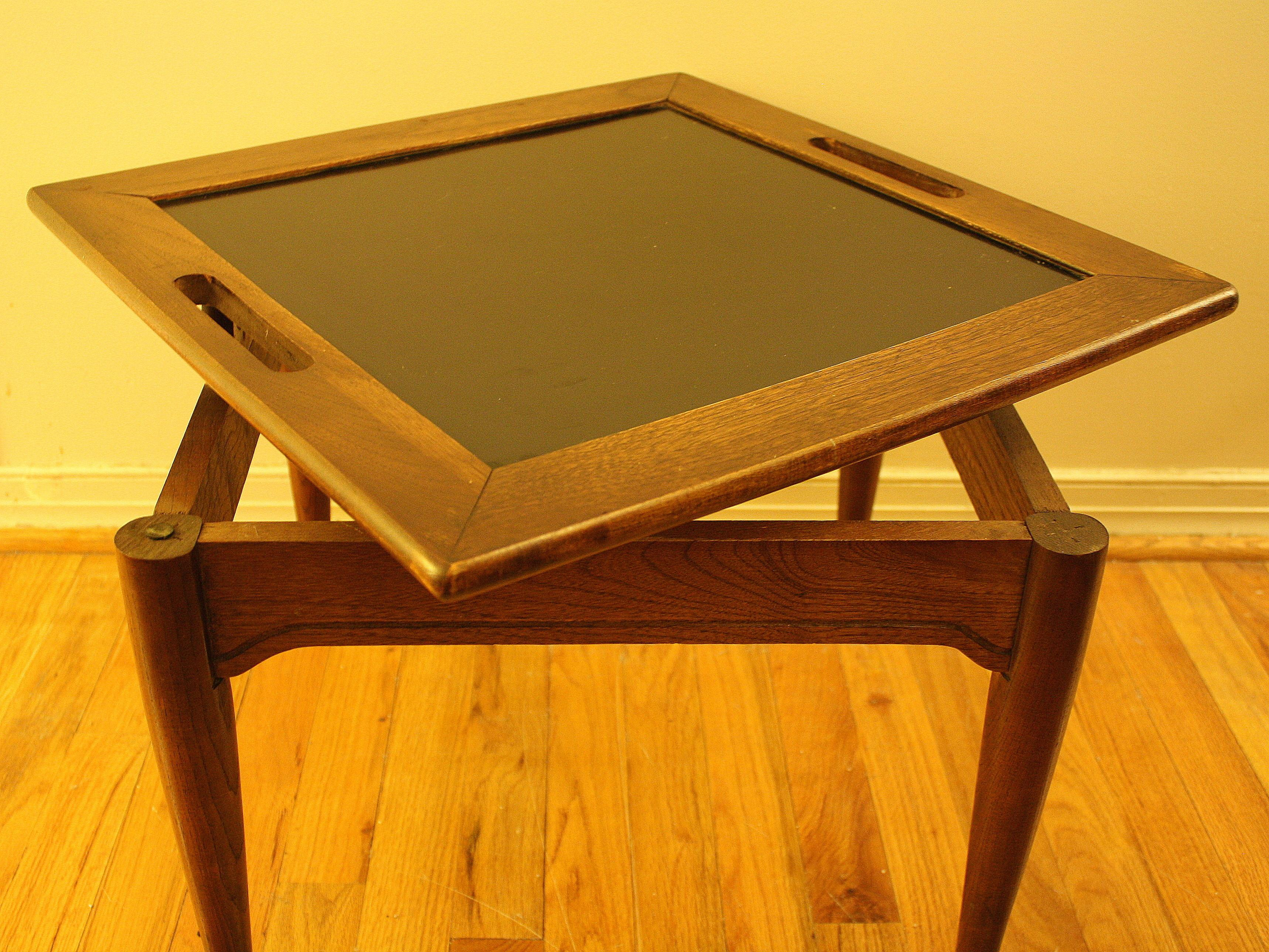 Mid Century Modern Serving Side Table Removable Tray