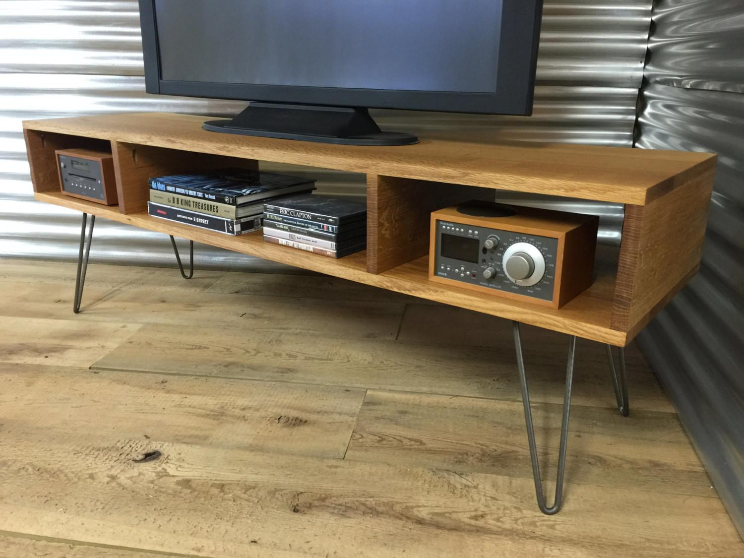 Mid Century Modern Stand Entertainment Console Quartersawn