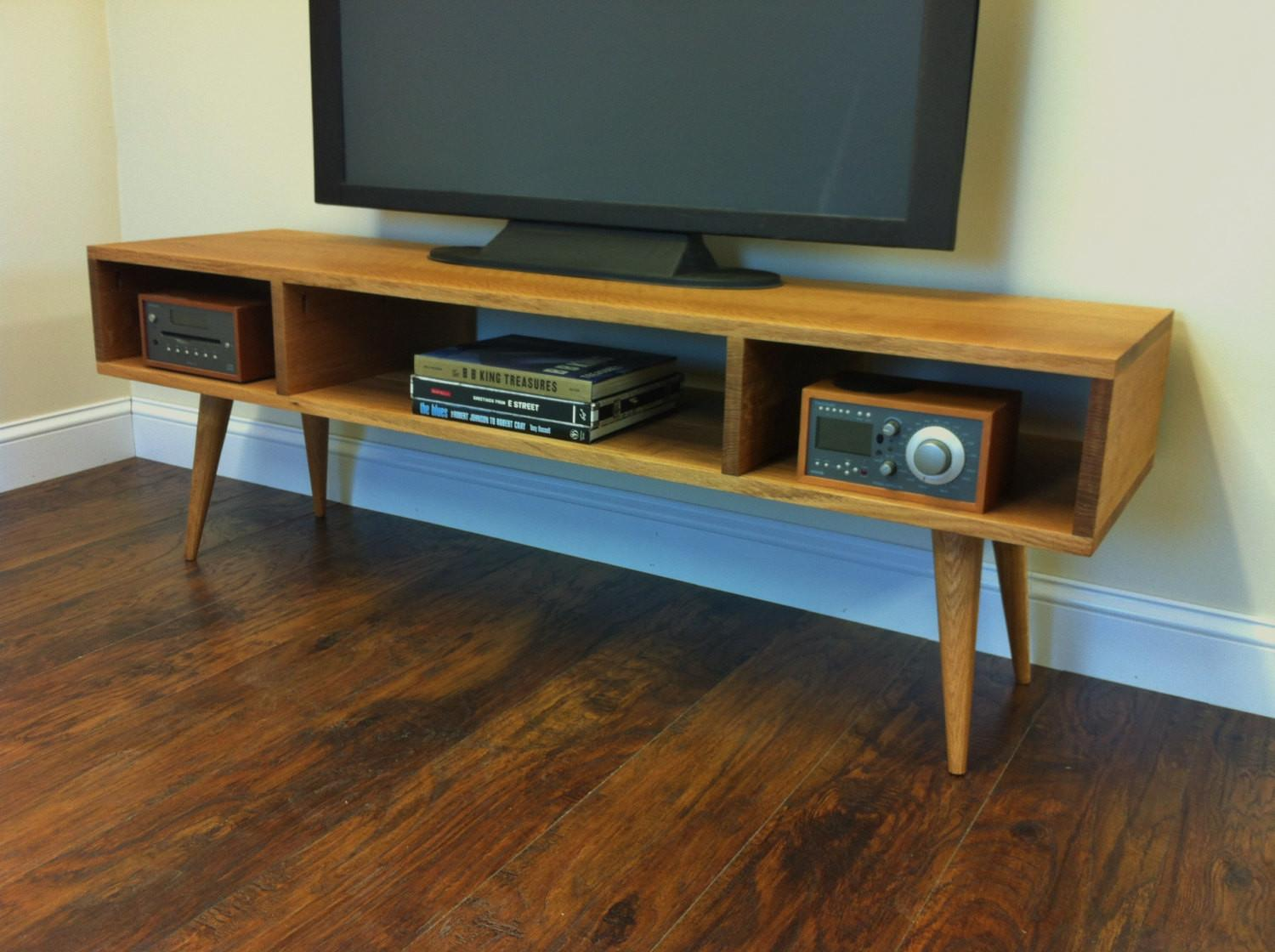Mid Century Modern Stand Media Console Open