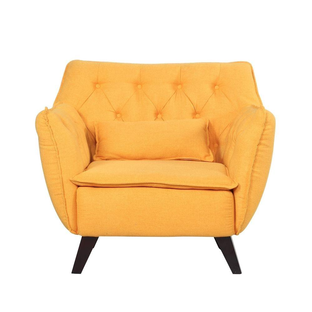 Mid Century Modern Tufted Linen Fabric Accent Living Room