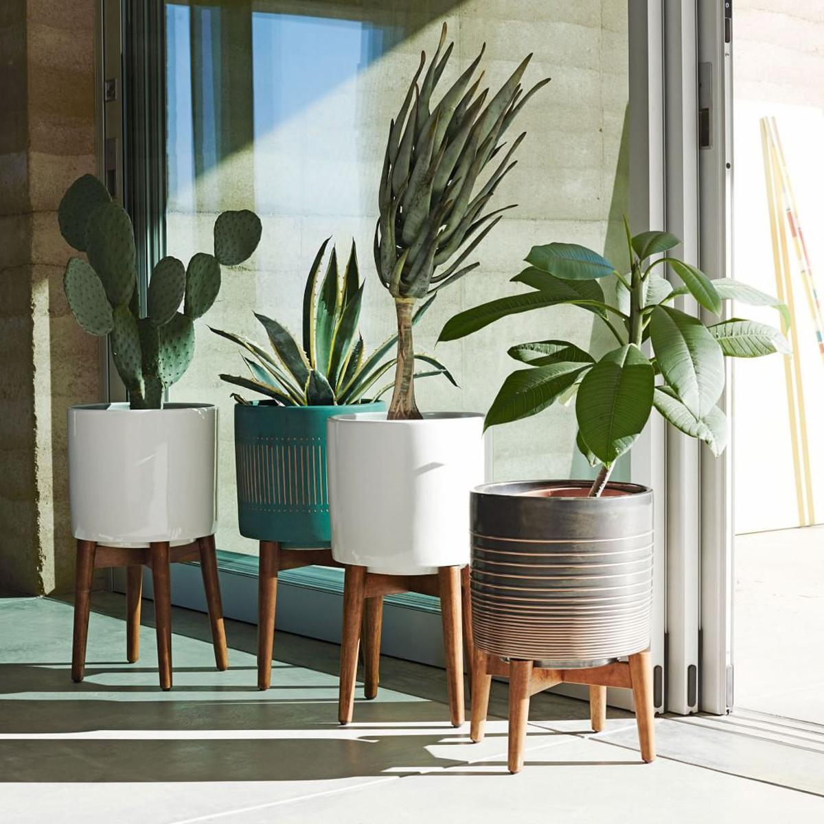 Mid Century Turned Leg Planter Solid West Elm