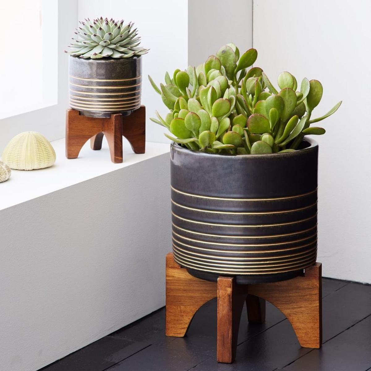 Mid Century Turned Leg Tabletop Planters Black Gold