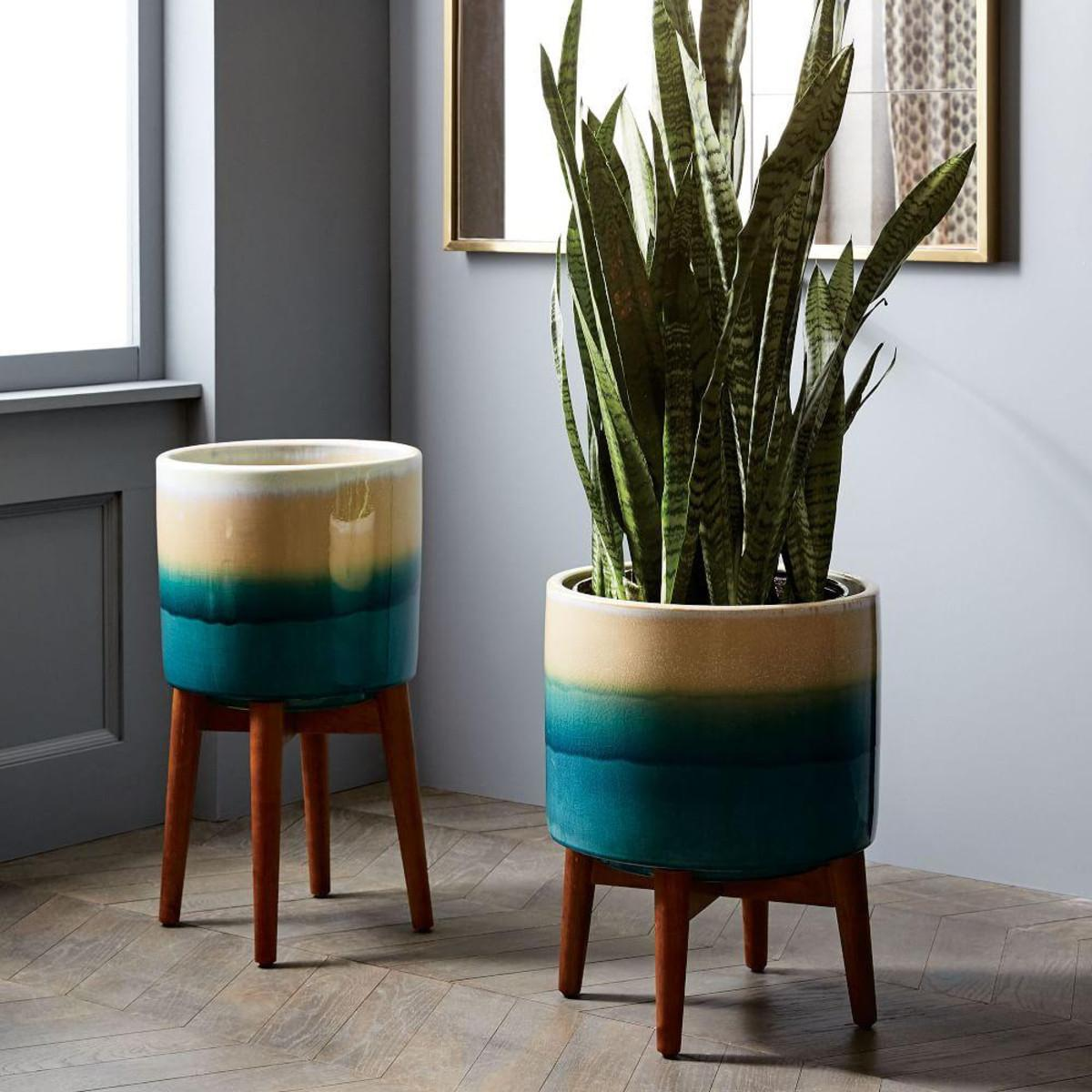 Mid Century Turned Wood Leg Planters Reactive Glaze