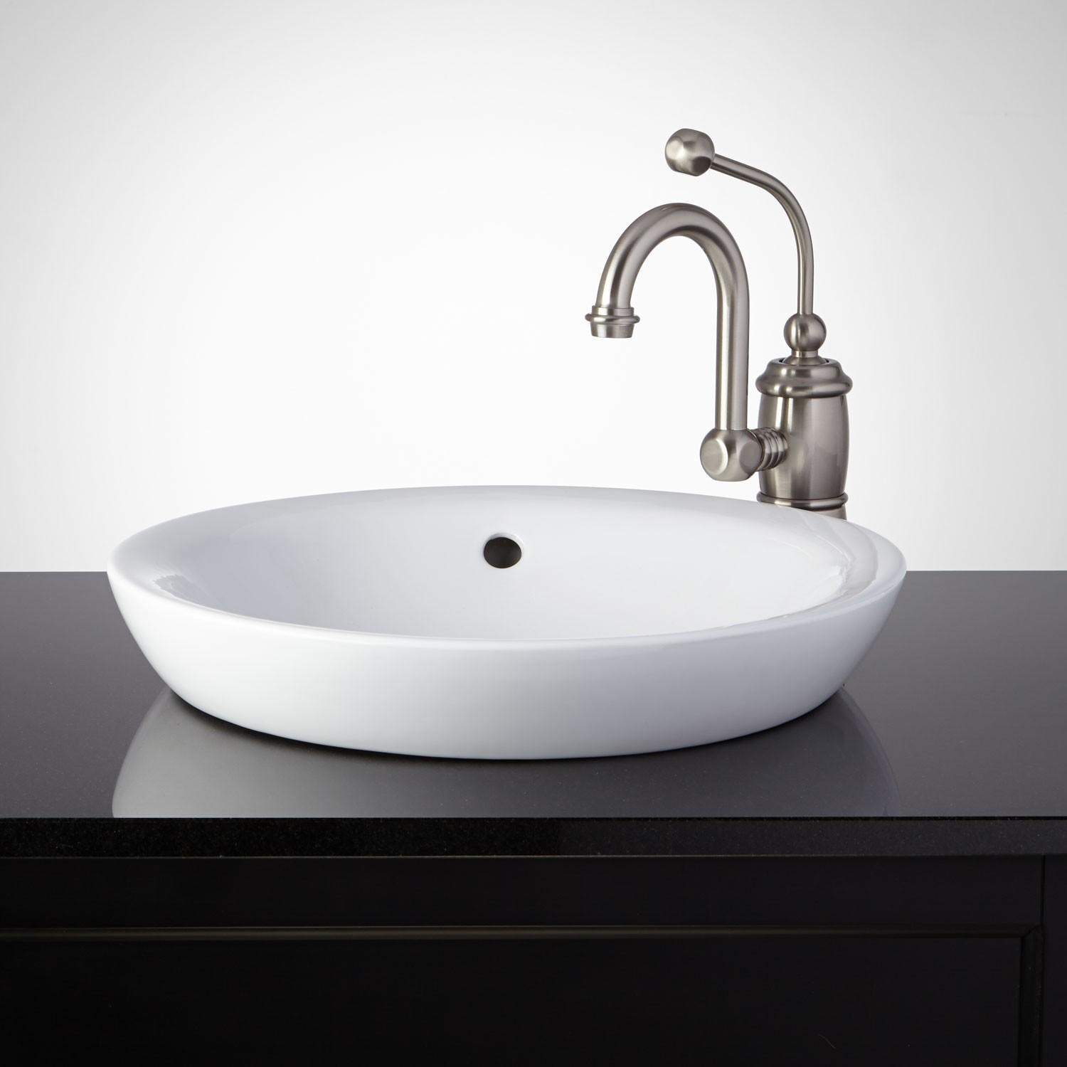 Milforde Porcelain Semi Recessed Sink