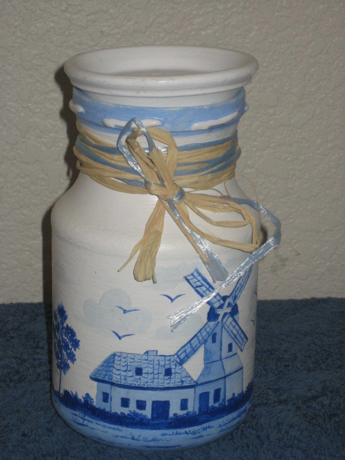 Milk Can Lid Hand Painted Vase Ceramic Pottery Holland