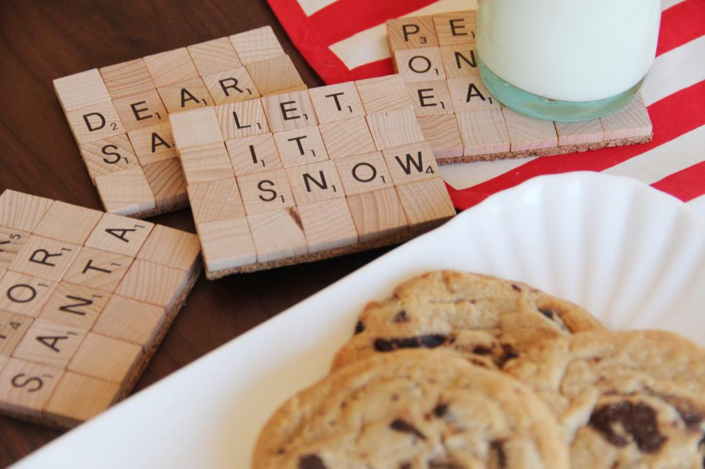Milk Cookies Santa Diy Scrabble Coasters Honest