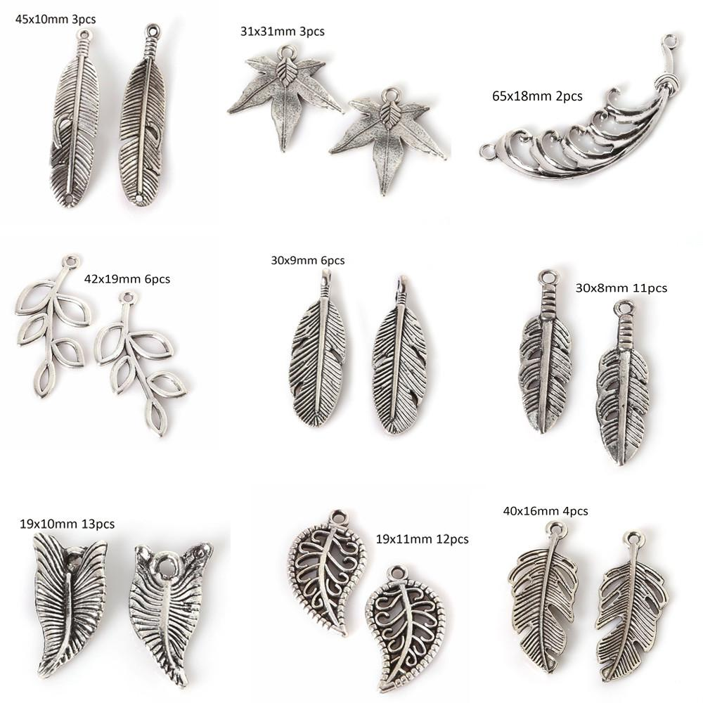 Mini Charms Antique Silver Branches Leaves Feather Shape
