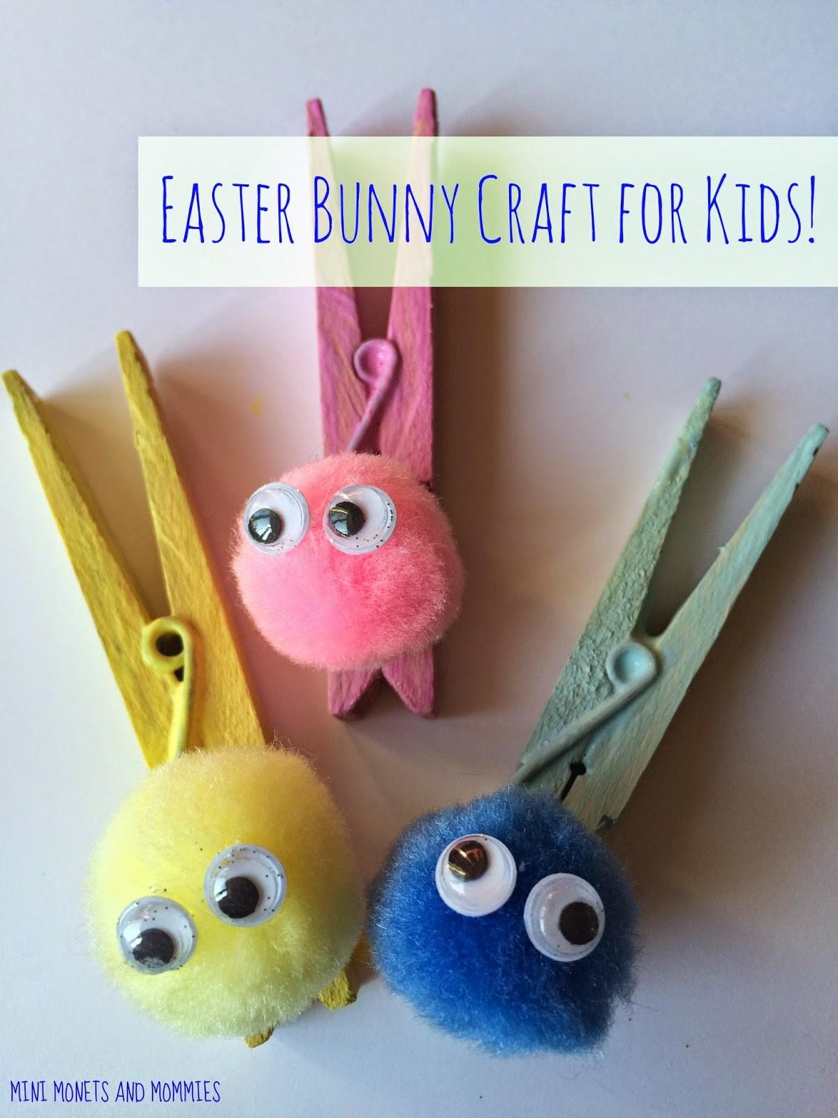 Mini Monets Mommies Easter Clothespin Bunny Kids Craft