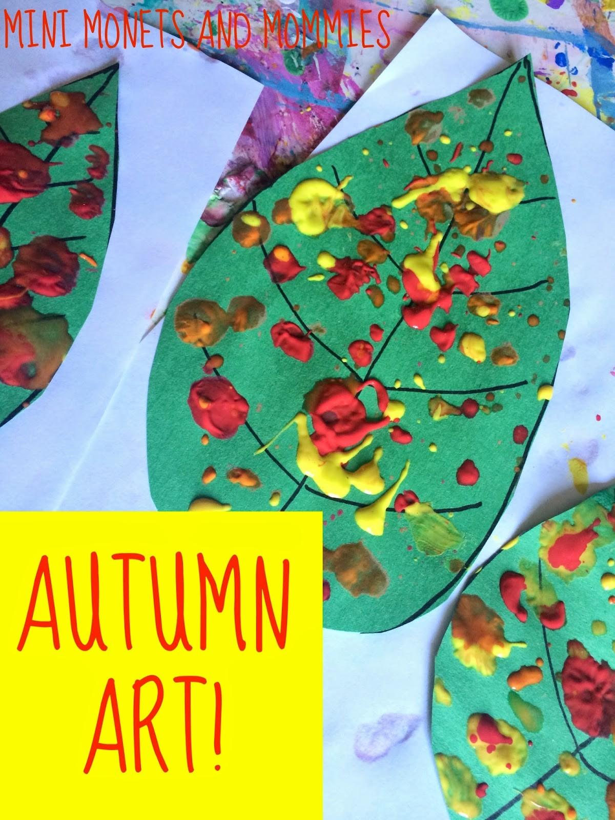 Mini Monets Mommies Fall Leaf Paint Splatter Kids