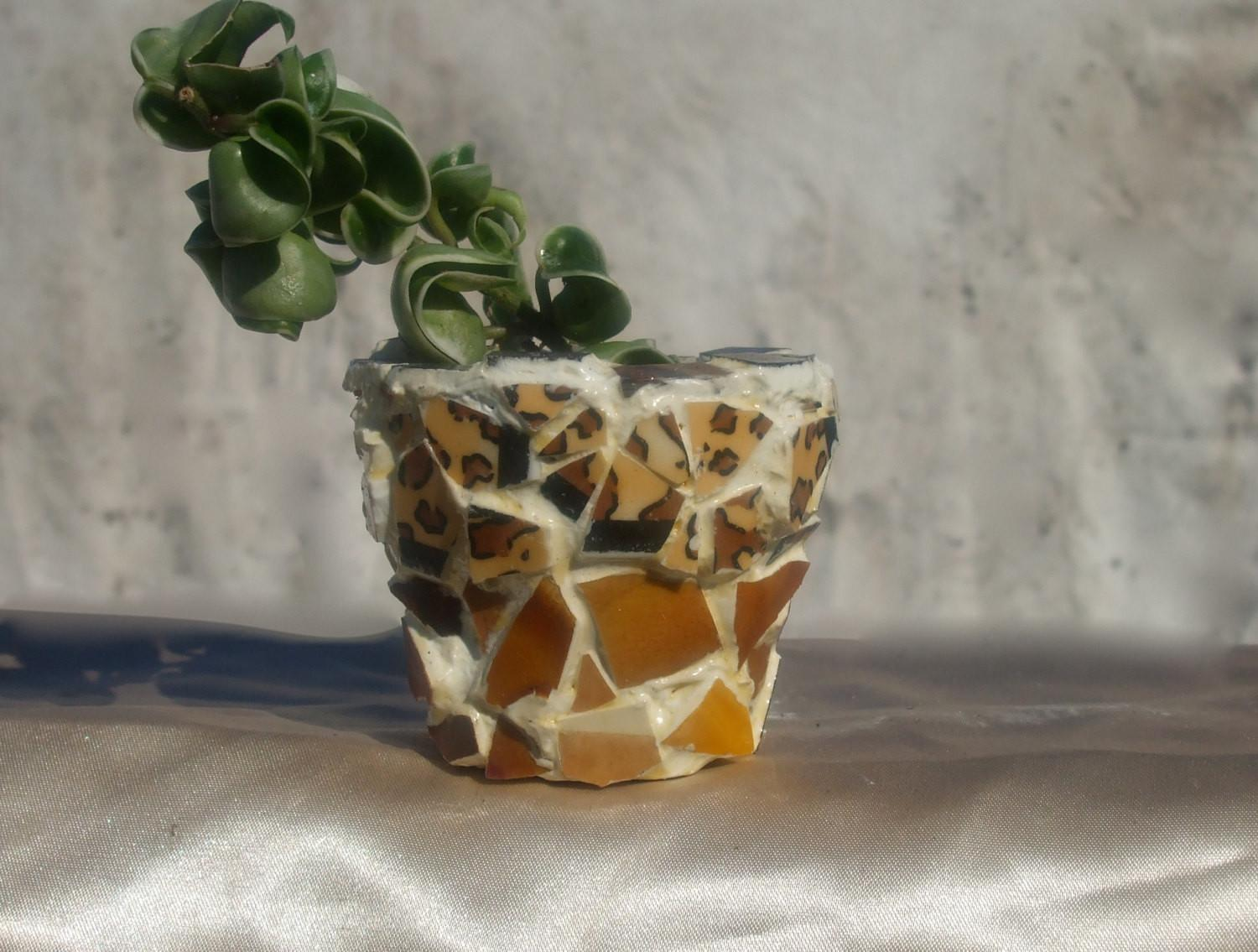 Miniature Mosaic Planter Pot Baby Lion Design