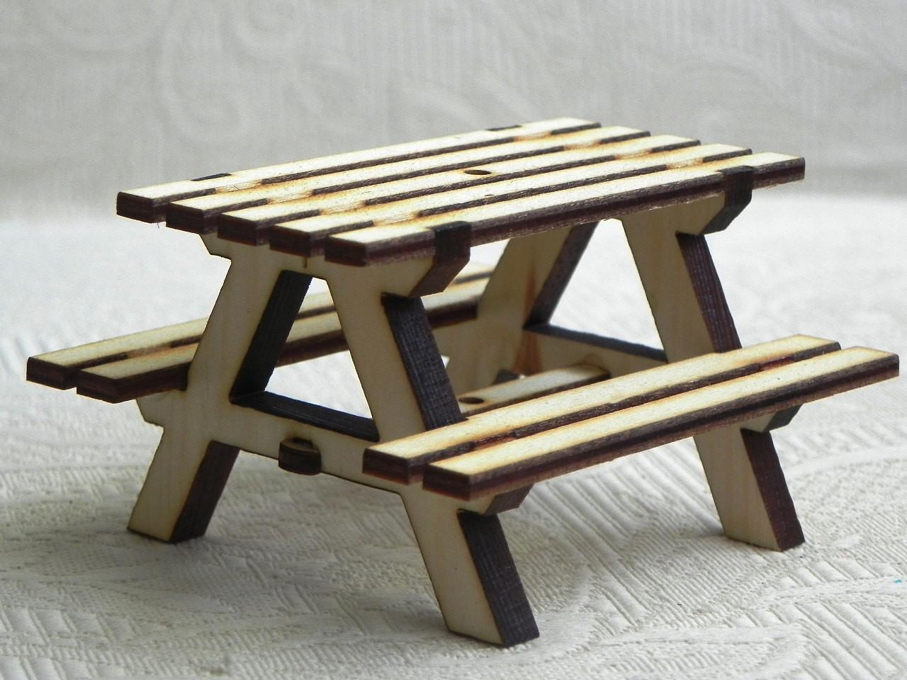 Miniature Picnic Table Handcrafted Fairy Garden Dollhouse