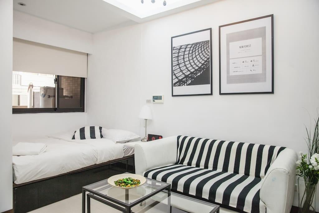 Minimal Black White Deluxe Studio Apartments Rent
