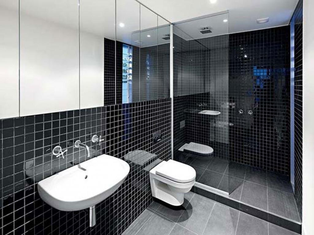 Minimalist Interior Decor Coupled Black Bathroom