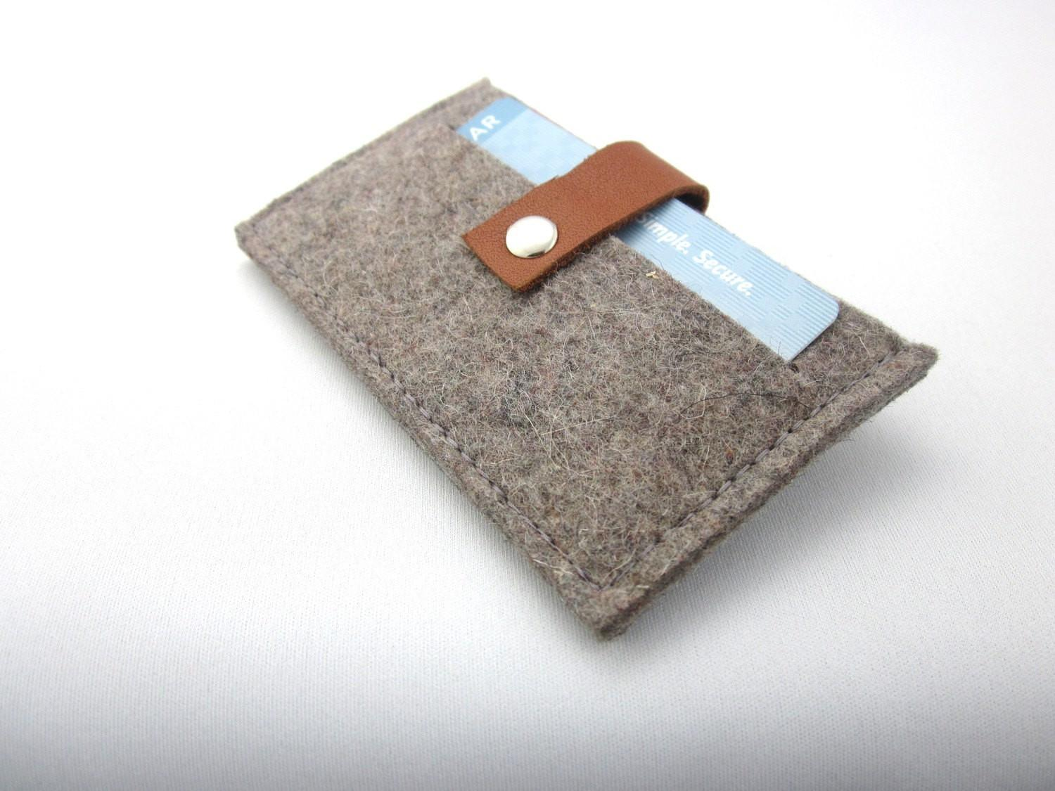 Minimalist Wool Felt Wallet Credit Card Case Business