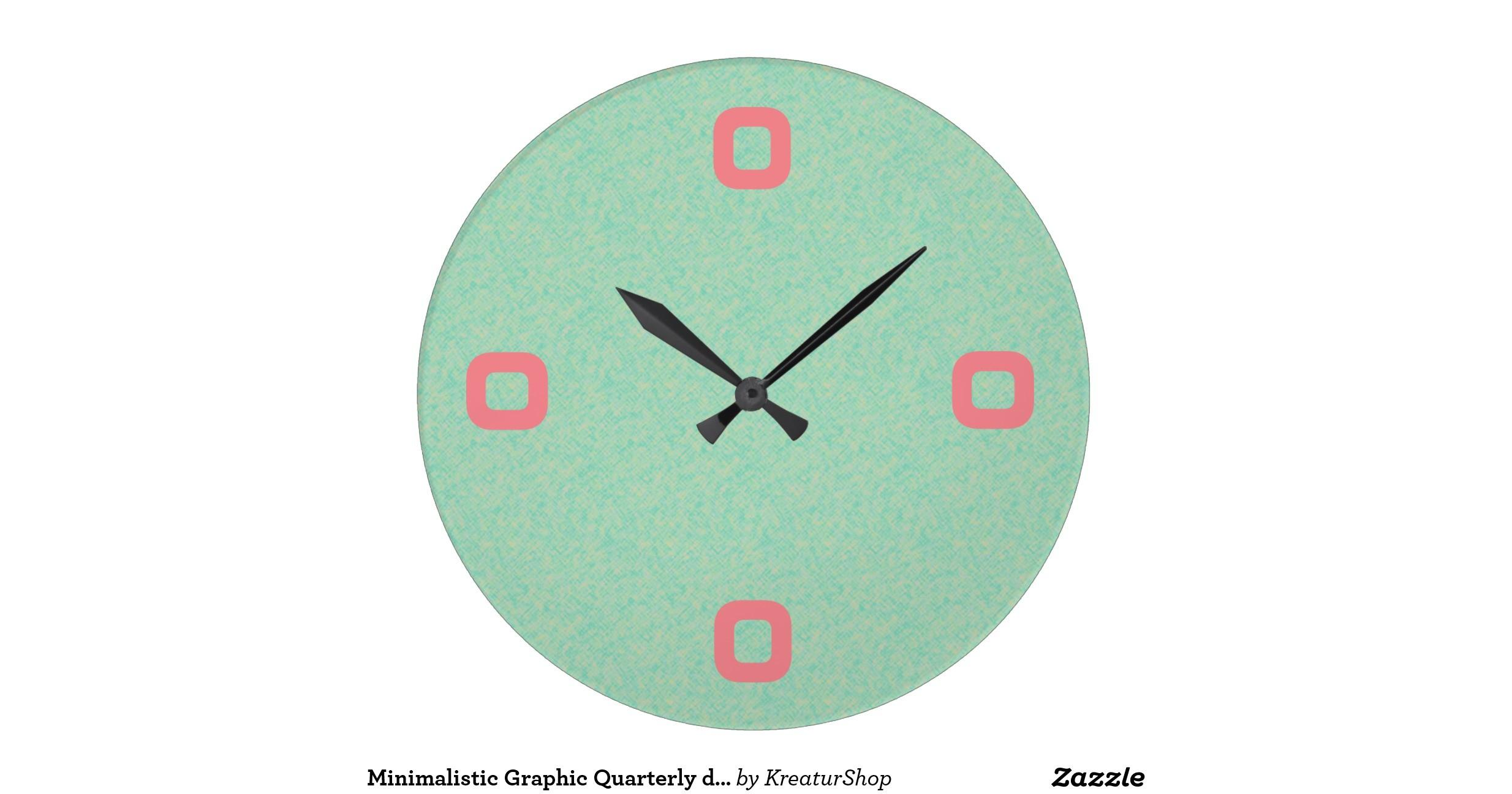Minimalistic Graphic Quarterly Digits Wall Clocks Zazzle