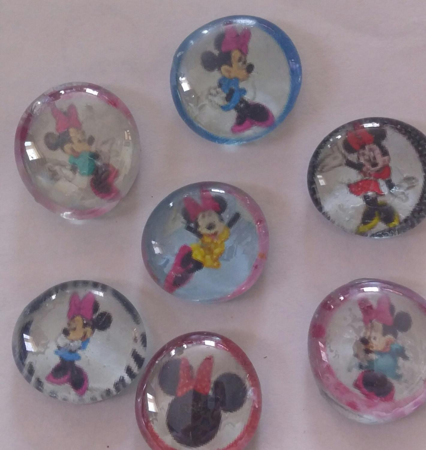 Minnie Mouse Themed Glass Gem Bubble Refrigerator Magnets