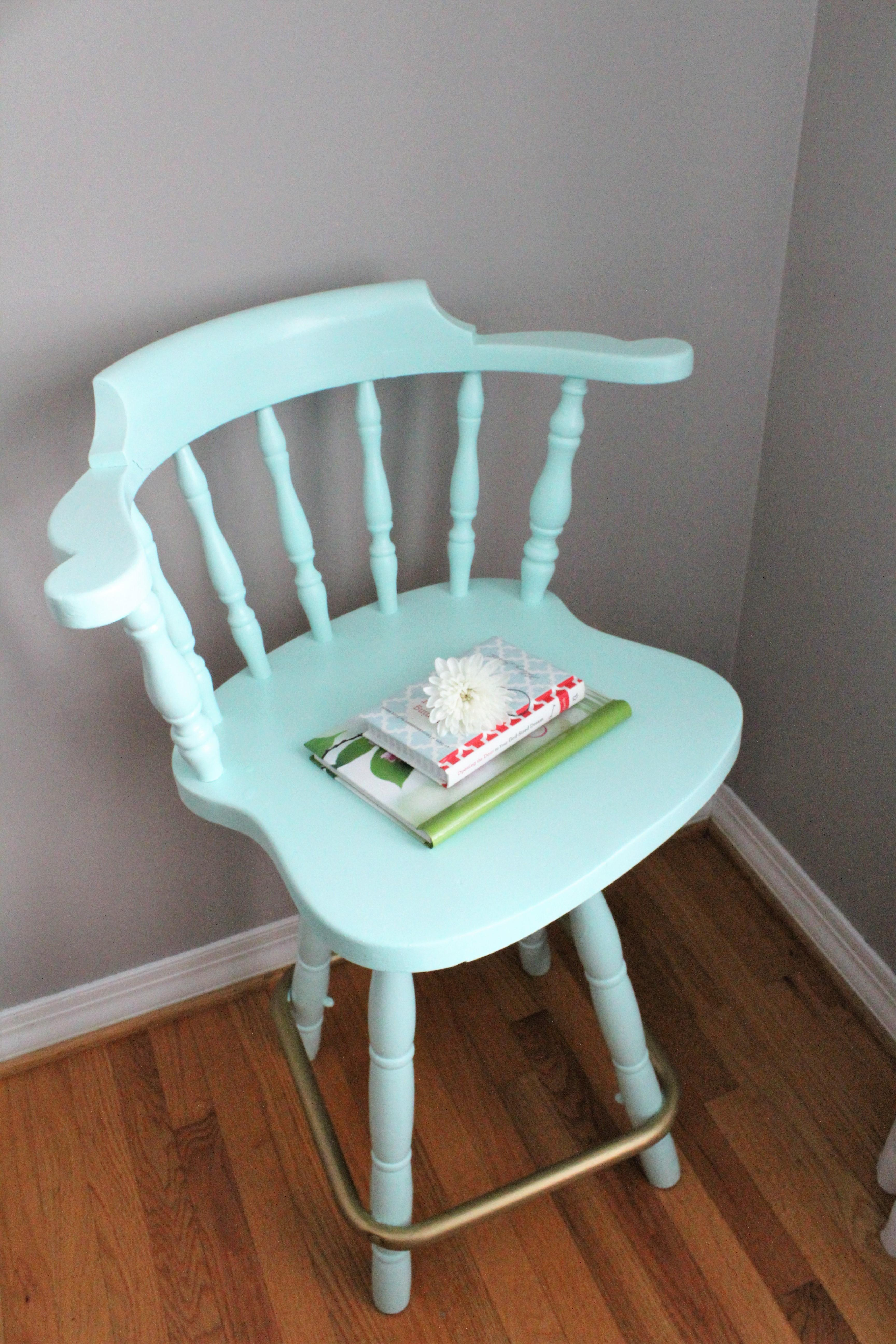 Mint Gold Painted Bar Stool