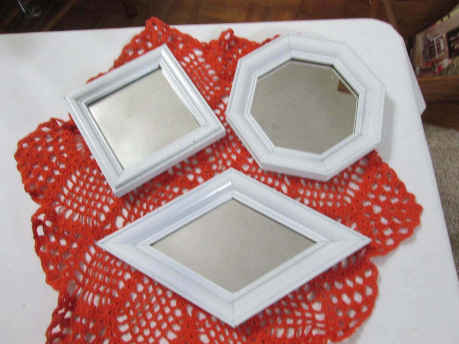 Mirror Set Small White Framed Instant Wall Grouping