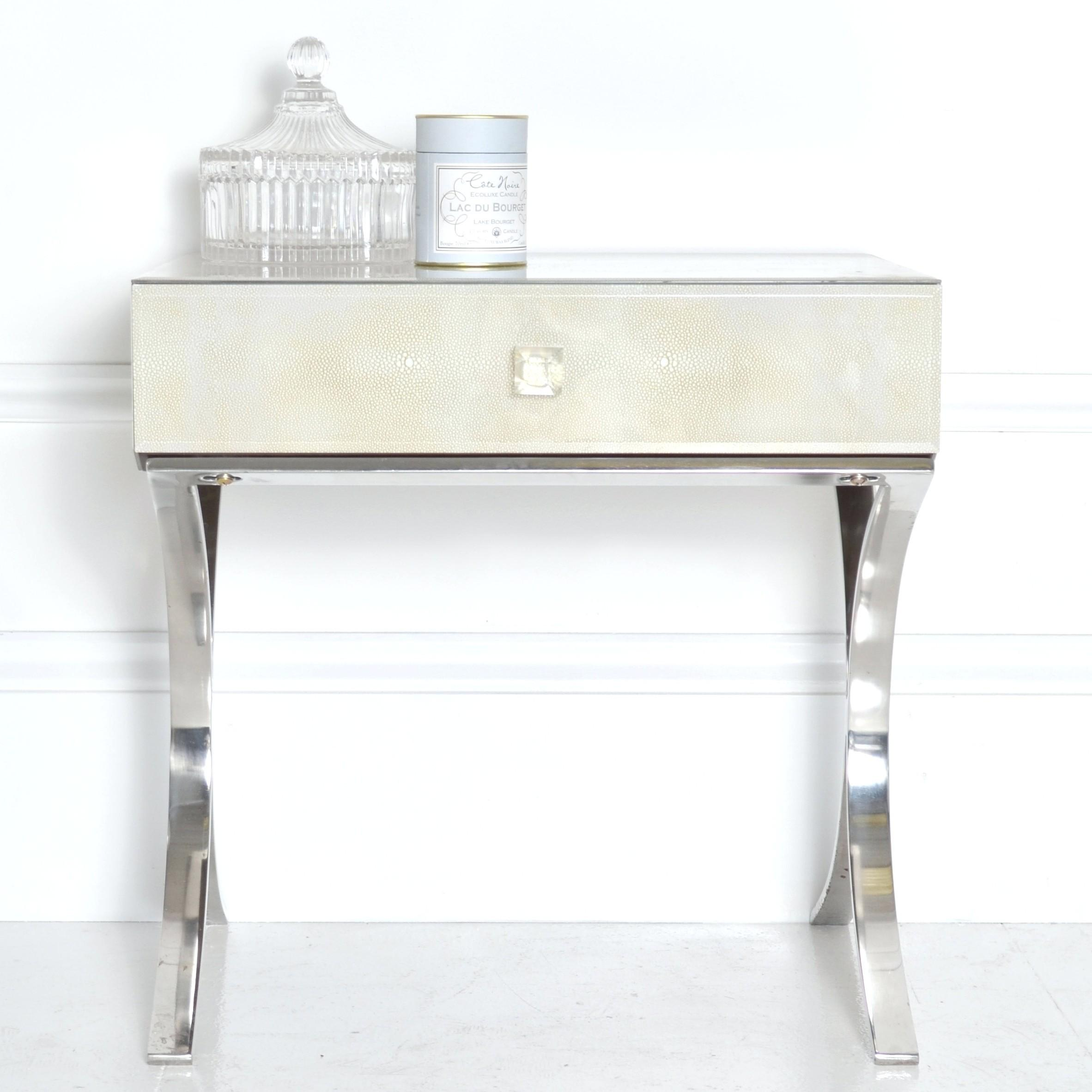 Mirror Side Table Bedside Mirrored Laura