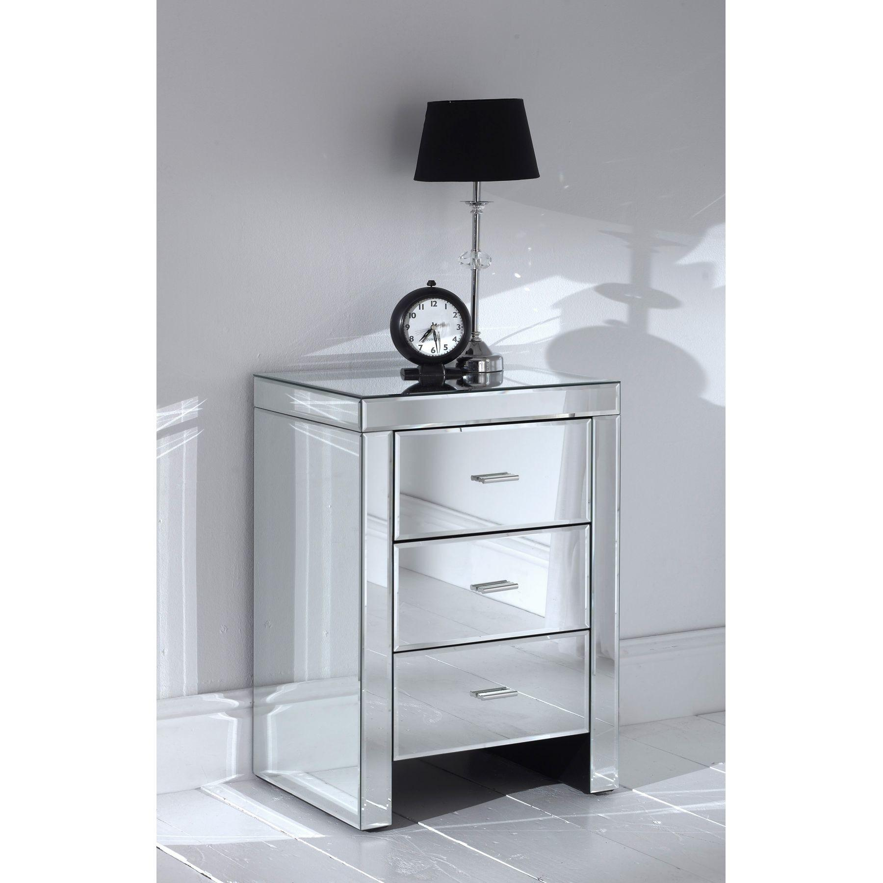 Mirrored Bedside Table Good Farrah Side Nightstand