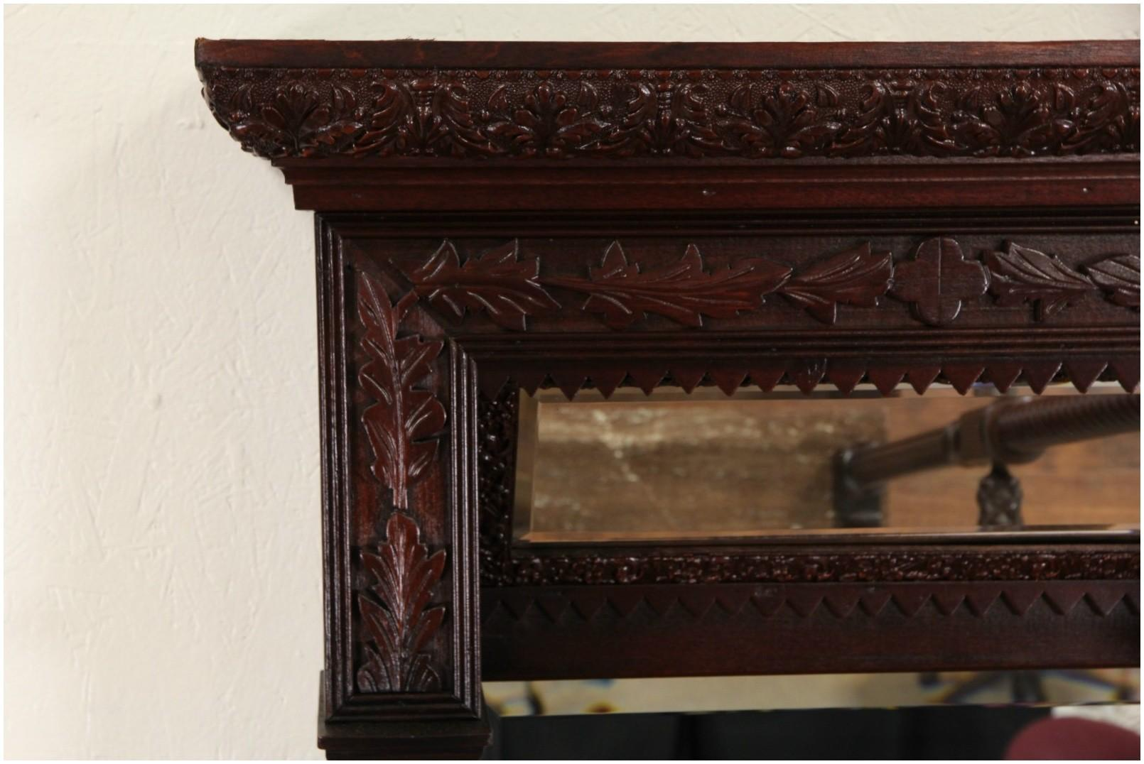 Mirrored Floating Shelf Victorian Carved 1880 Antique