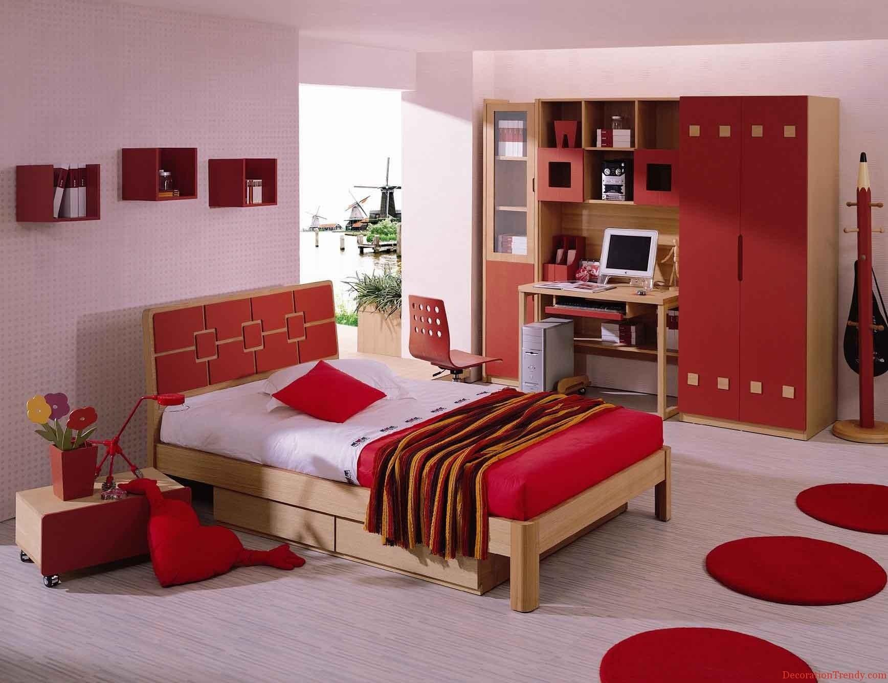 Miscellaneous Modern White Red Interior Design Room Living