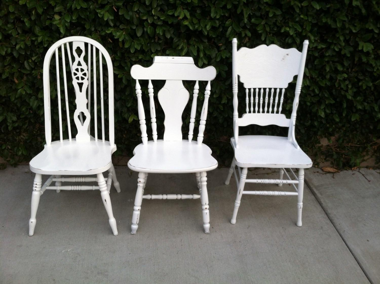 Mismatch Dining Chairs Set White Shabby Chic